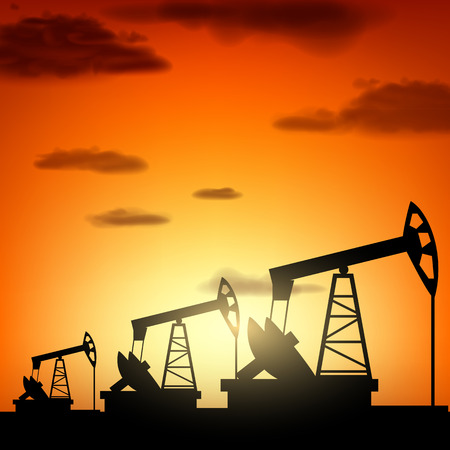 construction plant: Silhouette oil pump at sunset. Oil production. Vector industrial background.
