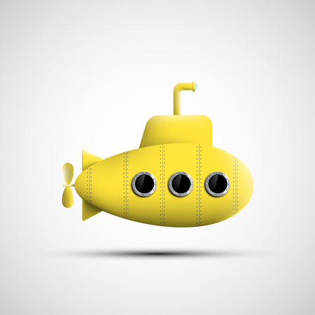 isolated on yellow: Yellow metal submarine. Vector image. Illustration