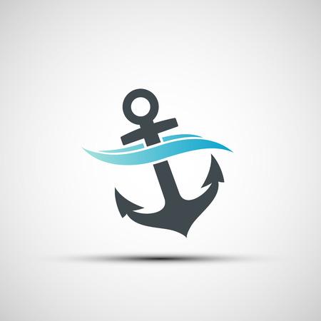 ship anchor: Ship anchor and wave. Vector image. Illustration