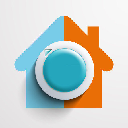 Round thermostat for temperature control. Vector image.