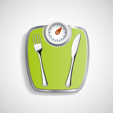 fatness: Fork and knife lying on the scales for weighing.