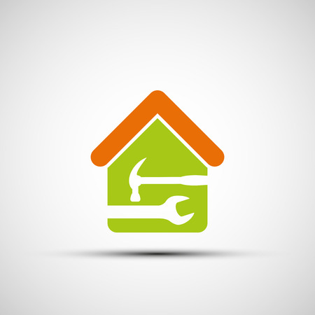 Silhouette of a house with a wrench and a hammer. Vector image. 向量圖像