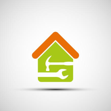 fontanero: Silueta de una casa con una llave y un martillo. Vector imagen. Vectores