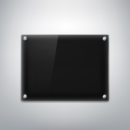 Black plate hanging on a gray wall. Vector Image.