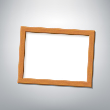 empty frame: Wooden frame hanging on a gray wall. Vector Image.