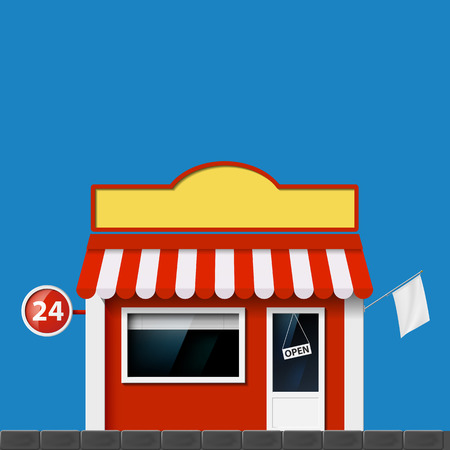 Shop window. Storefront with a sign. Vector Image. Vector