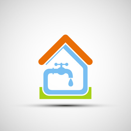 water sanitation: Plumbing system in the house. Vector icon