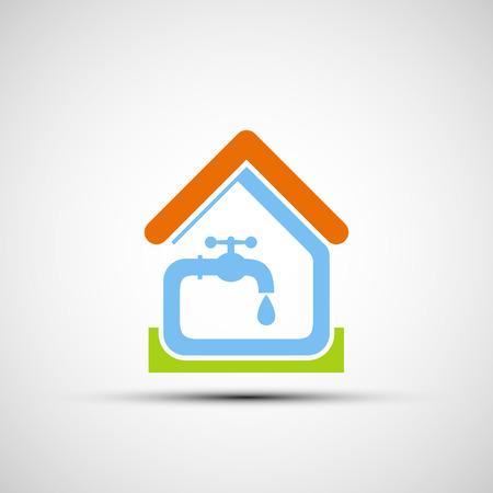 fontaneria: Sistema de plomería en la casa. Vector icono Vectores