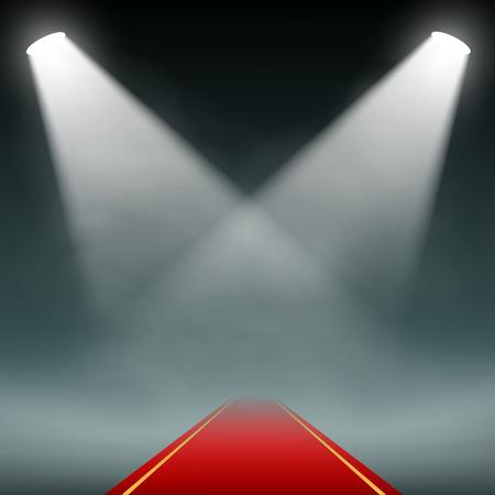Red carpet illumination Projectors. Vector image. Illustration