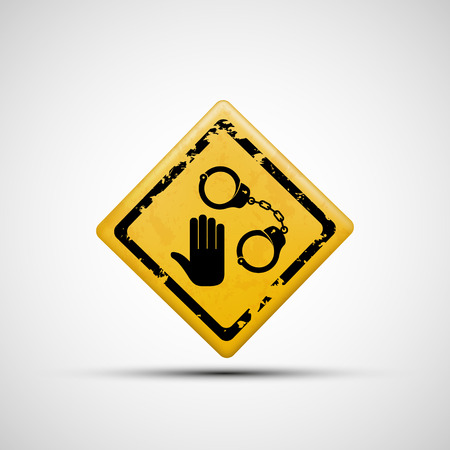 lockup: Sign handcuffs and palm. Vector image.