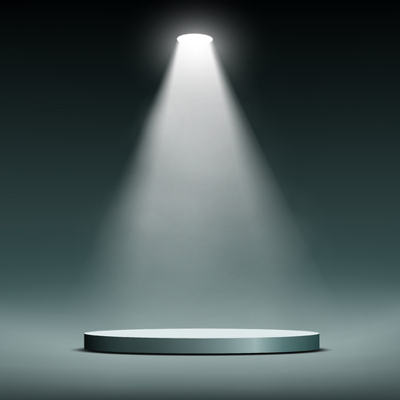 empty stage: Lantern illuminates round scene. Vector image. Illustration