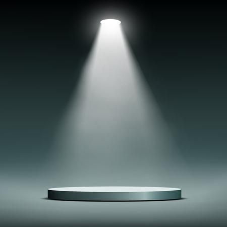 � image: Linterna ilumina la escena ronda. Vector imagen.