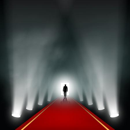hombre rojo: El hombre sale a la luz. Vector imagen.