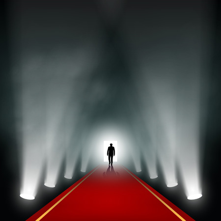 red carpet: Man comes to the light. Vector image.