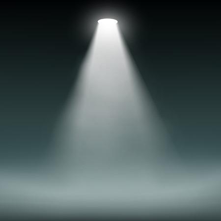 Lantern illuminates the dark background. Vector image.