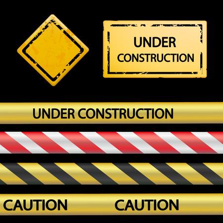 advertencia: Conjunto de cinta de señal y señales de advertencia. Vector imagen.