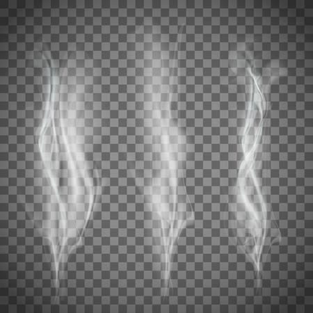 Set von transparenten weißen Rauch. Vector image.