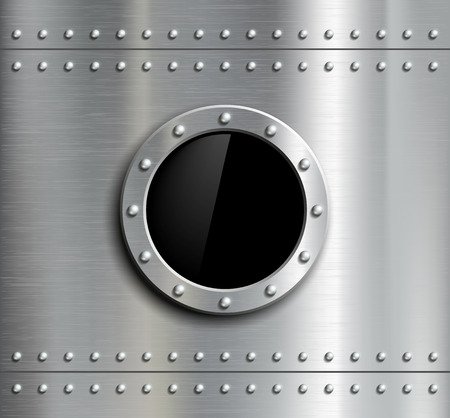 fuselage: Round metal window with rivets. Vector image.