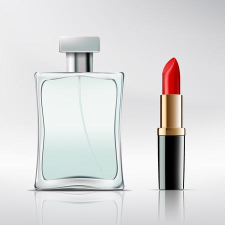 Botella de perfume y lápiz labial. Vector imagen. Vectores