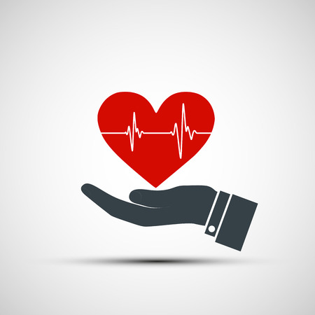 Hand holding a human heart. Vector image. Vector
