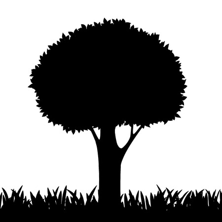 tree grass: silhouette of a tree and grass. Vector image.