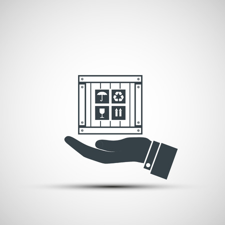 packer: Hand holding a wooden box. Vector image. Illustration