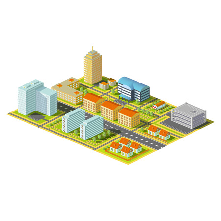 vector image: Isometric city. District with homes and offices. Stock Vector Image.