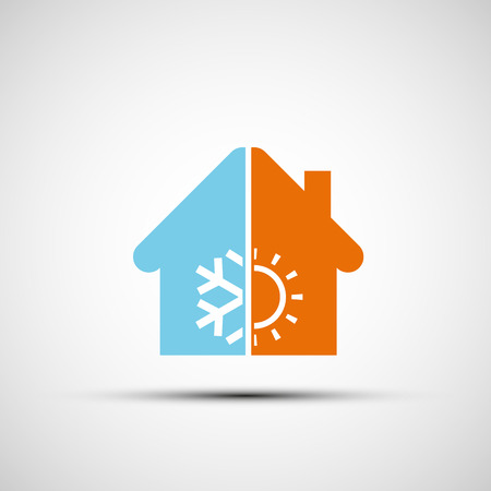 resfriado: Logo casa con climatizador. Vector imagen. Vectores