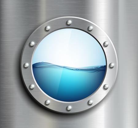 oceanography: Finestra rotonda sulla nave. Immagine vettoriale.