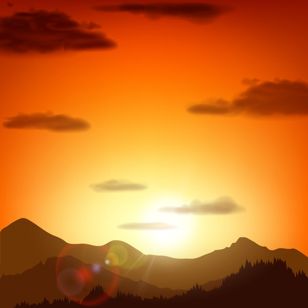overlook: Mountain landscape at sunset. Vector background.