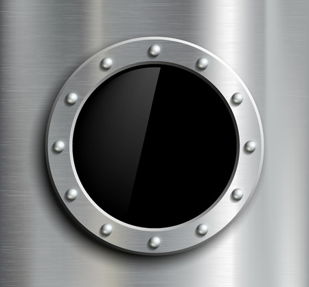 Round window in a metal fuselage. Vector image.