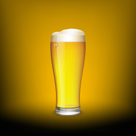 condensation on glass: Glass of beer on a dark background. Vector Image.