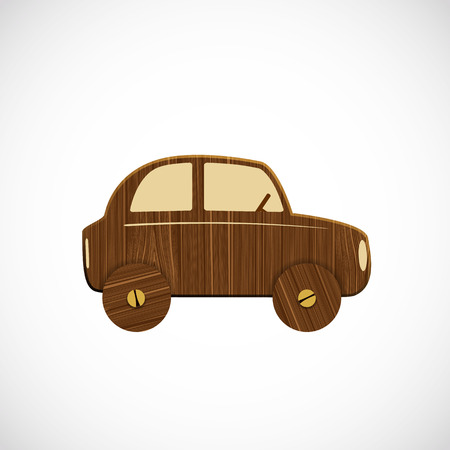 harmless: Wooden car. Childrens toy. Vector image.