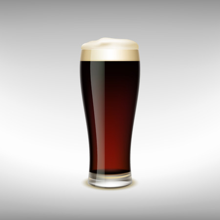 gold bar: Glass of dark beer with foam. Vector Image. Illustration