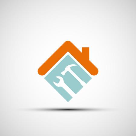 logo batiment: Silhouette d'une maison avec une clé et un marteau. Vector image.