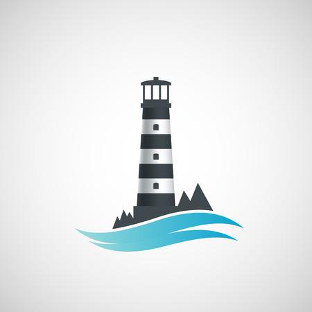 Logo alten Leuchtturm. Vector image.