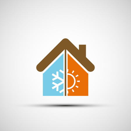 vector image: Logo home with climate control. Vector image.