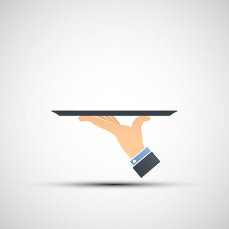 Logo hand holding a tray. Vector image.