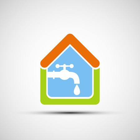pipes: Logo House and tap water. Vector image. Illustration