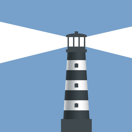 lighthouse keeper: Logo lighthouse with light. Vector image.