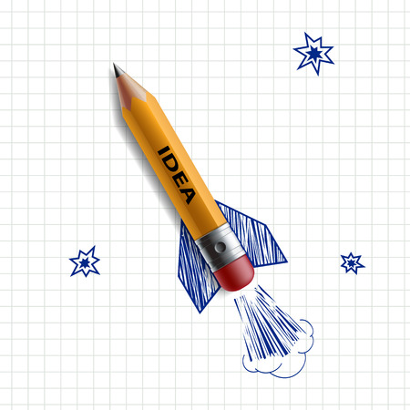 Pencil in the form of a rocket on a background painted sky. Vector Image.