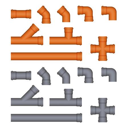 fontanero: Conjunto de tuberías de desagüe de plástico. Imagen vectorial.