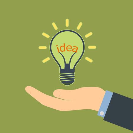Human hand. Word idea in a light bulb. Vector Image.