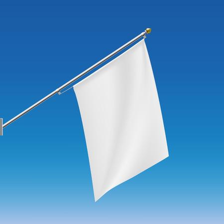 флагшток: Белый флаг на флагштоке. Векторное изображение.