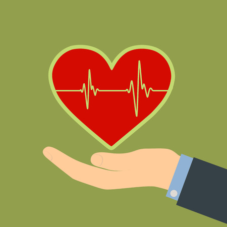 Human hand and red heart. Vector Image. Vector