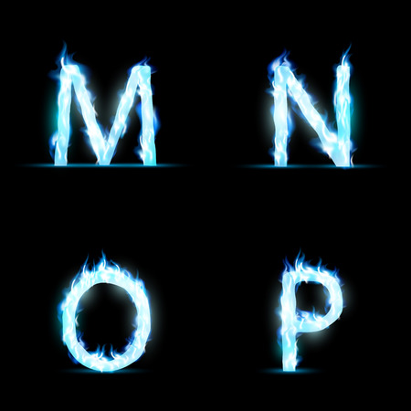 blue flame: Set of letters in blue flame. Isolated on a black background. Vector Image.