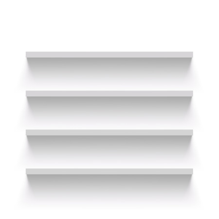 Empty shelves on a white wall. Vector Image. Stock Illustratie