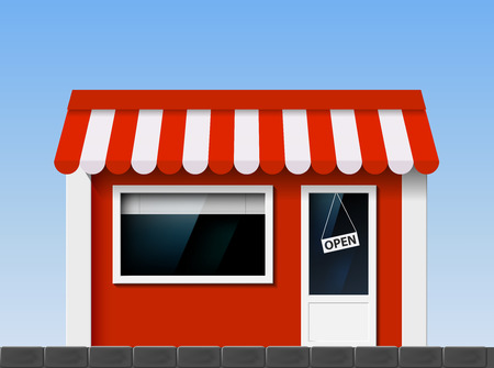 Shop window. Facade of the building. Vector Image. Vector