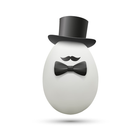 intrigue: White egg in a hat. Vector image.