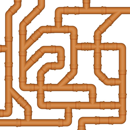 pipes: Connection of orange plastic sewer pipes. Vector Image.